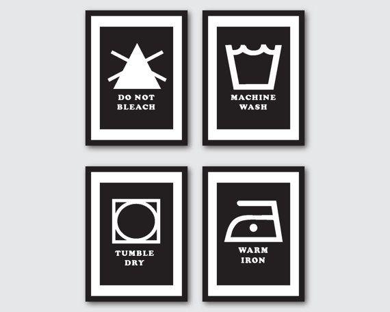 Laundry Room Art  Four 5 x 7 prints  door SusanNewberryDesigns, $40.00