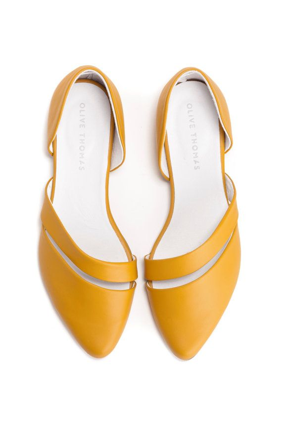 Summer Sale 15% OFF Flats Leather Shoes Womens by OliveThomasShoes