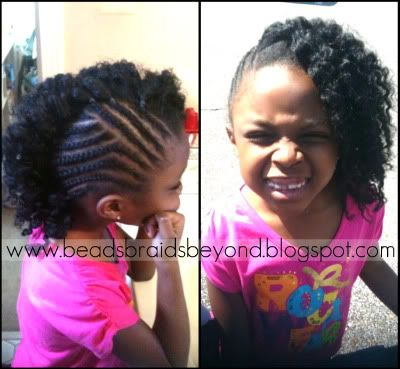 One side braids on a super cute little girl. Nice design!