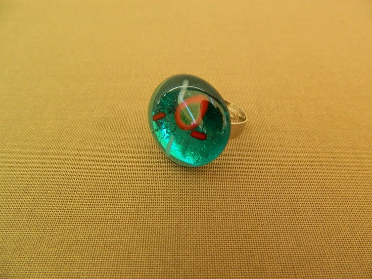 Fused glass transparent turquoise abstract ring