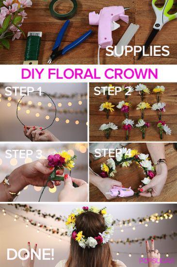 Be a boho DIY'er - make your own floral crown #DIY #festivalfashion