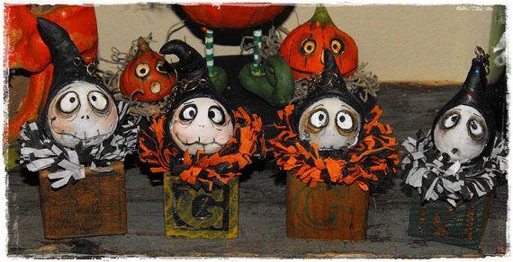 Grimmy Reaper block head Halloween feather tree by SpookyHollow, $12.99