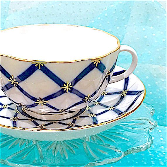 Cobalt Blue Tea Cup and Saucer, Antique, Blue White Teacup Set, St. Petersburg Russia, Vintage China
