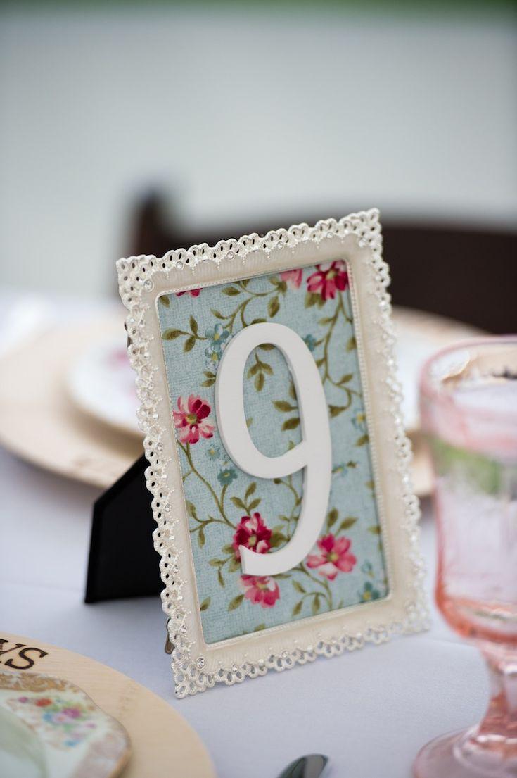 vintage wedding table numbers - DIY