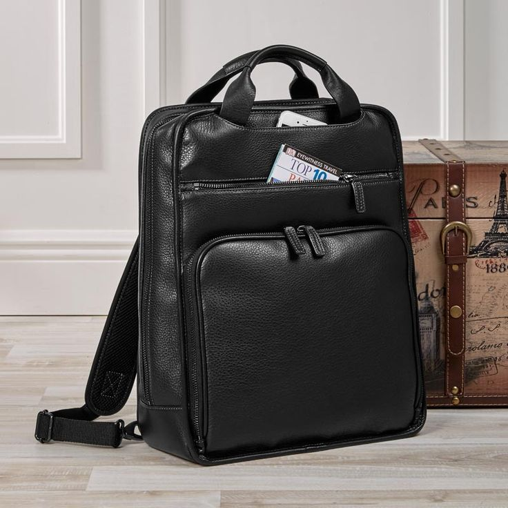 Sturdily crafted of our pebbled, full-grain Bomber Jacket leather, this convertible leather backpack transforms into a leather briefcase when you tuck away the straps, and boasts a wealth of organizational pocketing.