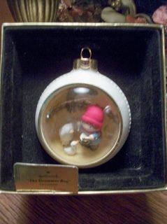 """Hallmark Tree-Trimmer Collection Christmas Tree Ornament """"The Drummer Boy"""" Panorama Ball Ornament Scene of a young drummer boy, a duck and a lamb Brass eye for stringing with hanging loop or hook 3 1/2"""" diameter ball VERY nice condition in original box, box does not have lid.  Thank you for visiting A Vintage Addiction  YS1114CV25W5SW11  avintageaddiction, vintage, christmas tree ornament, hallmark, tree trimmer. keepsake ornament, the drummer boy, little drummer boy, panorama ball, ..."""
