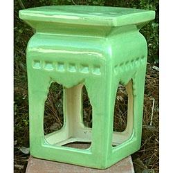 Square Lime Green Ceramic Stool $111