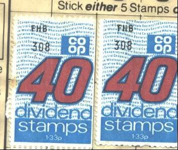 Co-op stamps, you got these for your grocery shopping and off the milkman, great sheets of them that you had to lick and stick in books, before handing them in to collect free things from your local Co-op...usually glasses