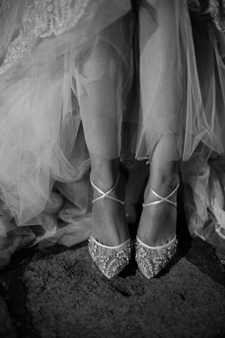 Comfortable ankle trap wedding shoes from Bella Belle.     Floral Designer: Nancy Liu Chin - http://www.nancyliuchin.com Bride's Shoes: Bella Belle - http://www.stylemepretty.com/portfolio/bella-belle Wedding Dress: Kinsley James Couture Bridal - http://www.kinsleyjames.com   Read More on SMP: http://stylemepretty.com/vault/gallery/112167