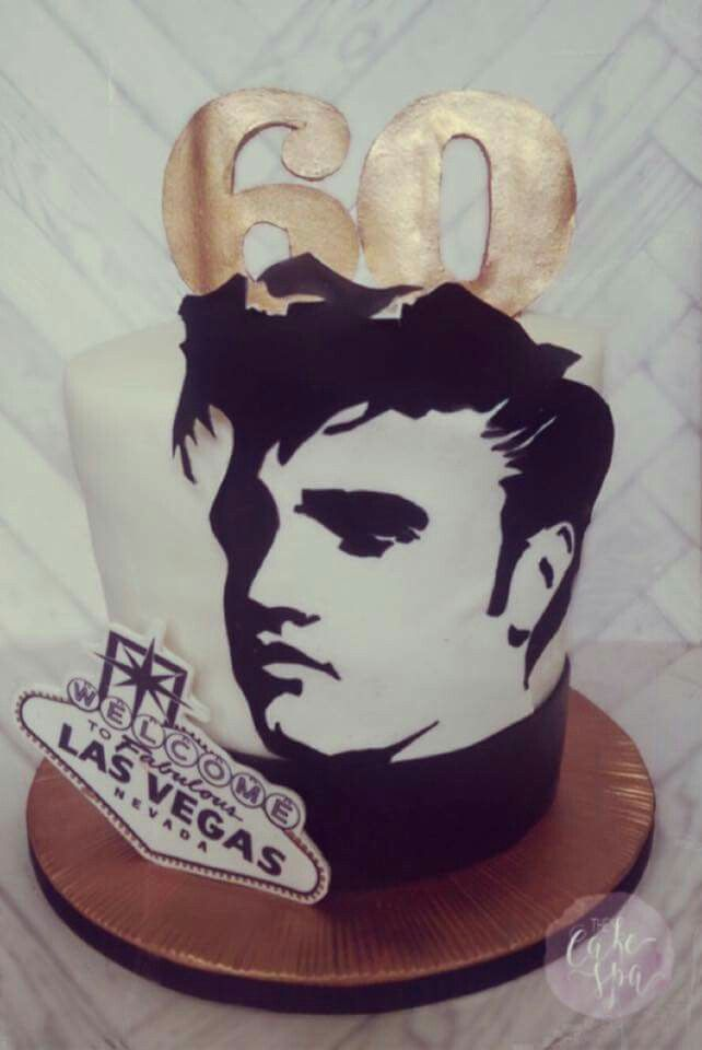 60th birthday cake for an Elvis fan who is celebrating in Las Vegas later in the year. Bronze numbers and starburst cake board. Double barrell.