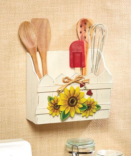 Sunflower Country Kitchen Decorative Wooden Wall Bin Utensil Mail Holder New
