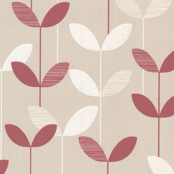 2533-20204 Pink Linear Leaf Wallpaper - Ernst - Elements Wallpaper By Decorline