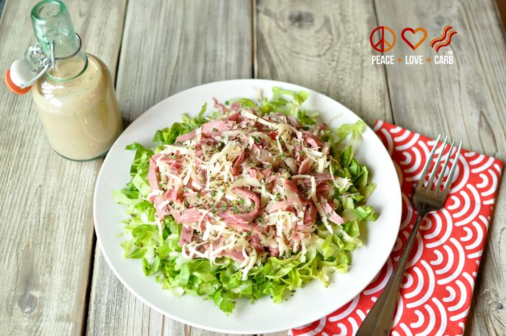 Reuben Chopped Salad with Russian Dressing – Low Carb, Gluten Free via @PeaceLoveLoCarb