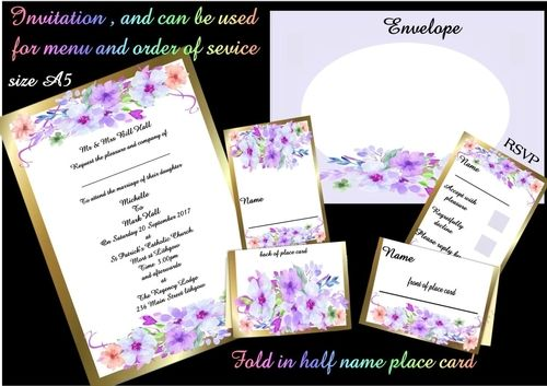 This is a beautiful complete wedding stationary kit including you A5 invite, which can also used as a menu and order of service.   Then there is the RSVP card to go with your invitation, and the name place card, it has delicate water coloured painted flowers.there is also a matching envelope. so easy to make, enjoy.