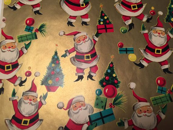 Vintage Christmas Gift Wrapping Paper Santas On Gold