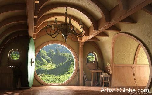 Interior, Hobbit House.In movie LORD of The Rings - Artistic Globe