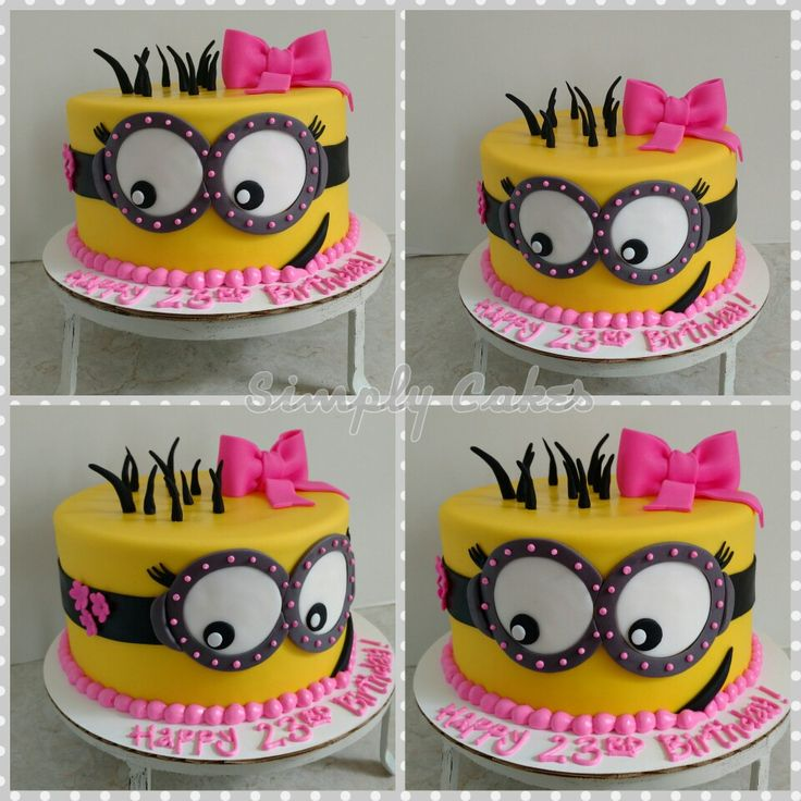Girly minion birthday cake  https://m.facebook.com/simplycakes.brittneyshiley/