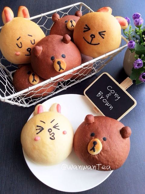 Line   Cony and Brown Sticker Character Buns