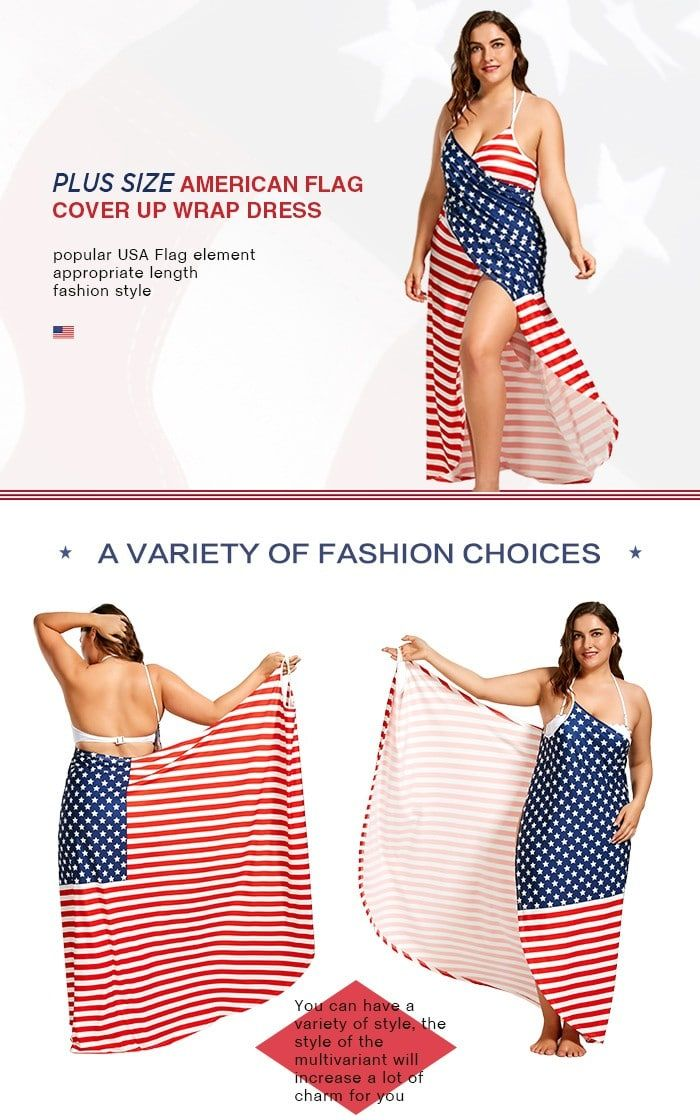 ac81873c34 Plus Size American Flag Wrap Cover Up Dress in 2019 | Swimsuits | Dresses, Wrap  dress, Plus size