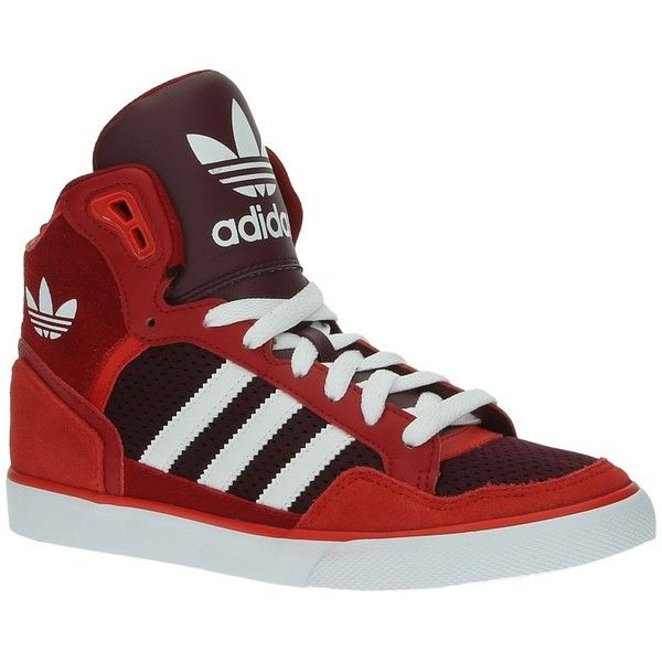 Adidas EXTABALL W rode hoge sneakers (59.565 CLP) ❤ liked ...