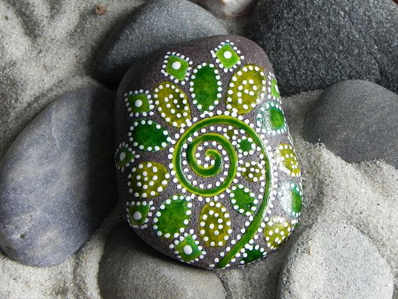 #painted rocks, Fiddlehead Fireworks / Painted Rock  by Sandi Pike Foundas.