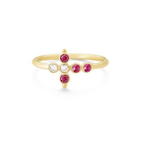 Bague Petit AA Or jaune, Rubis et Diamants