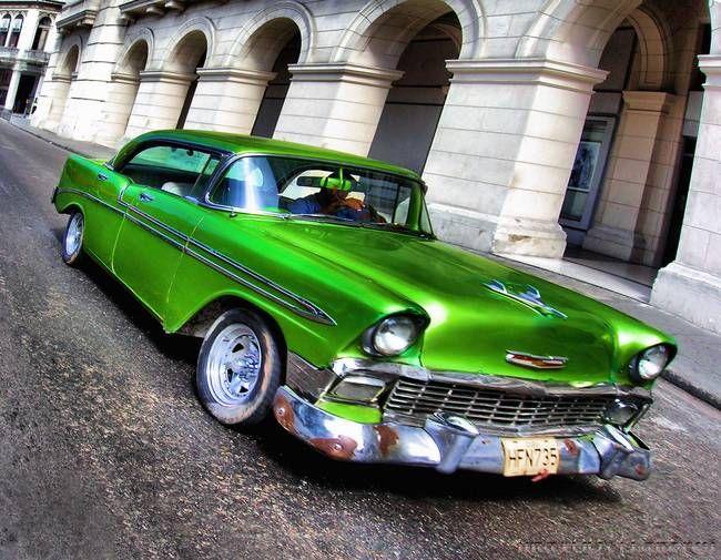 emerald green vintage cars | Emerald Green 1956 Chevy 4dr Coupe Classic car | John L. Andreu