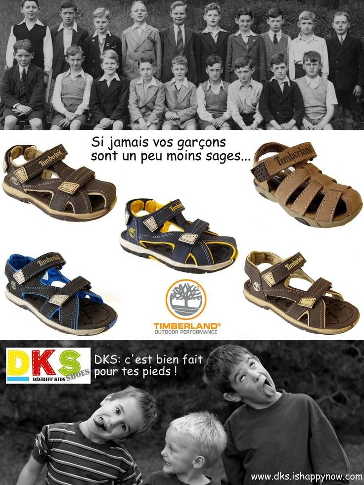 Arrivage de sandales Garçon TIMBERLAND différents coloris, traitement antimicrobien, rembourrage amélioré pour la course, le saut et le jeu - du 25 au 38 - à partir de 35€ (au lieu de 49,95€) - DKS Grenoble - Chaussures pour enfants à prix dégriffé