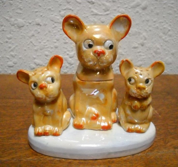 Vintage Germany Luster Bonzo Dog Salt & Pepper Condiment Set
