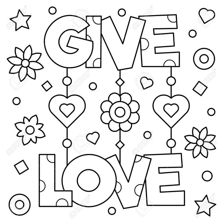 Download Give love. Colouring page. Black and white vector ...
