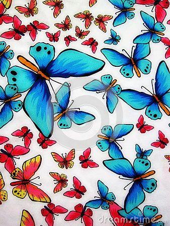 Tela blanca con las mariposas pintadas