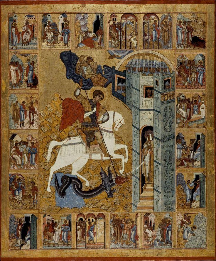 Anonyme. École de Novgorod (Russie). XVIe siècle. Tempera sur bois. H. 165 cm ; l. 137 cm