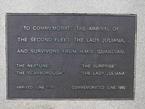 Second Fleet Inscription Plaque.  Private Joseph Baylis, NSW Corps 102nd Regiment  was on 'Surprise' arrived 26 June 1790