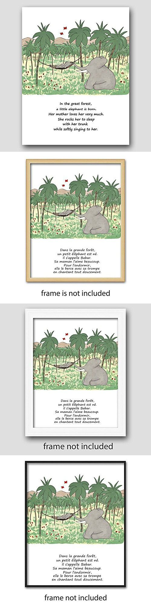 Girls Nursery Wall Decor (Babar the Elephant Print, Baby Poem Art) Mother and Daughter  Unframed
