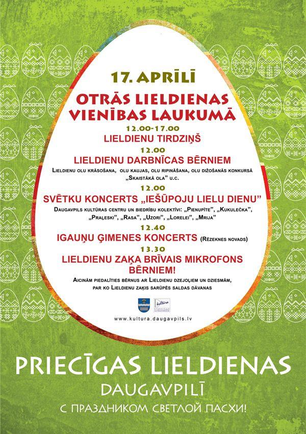 Афиша Даугавпилса - Площадь Виенибас: второй день Пасхи
