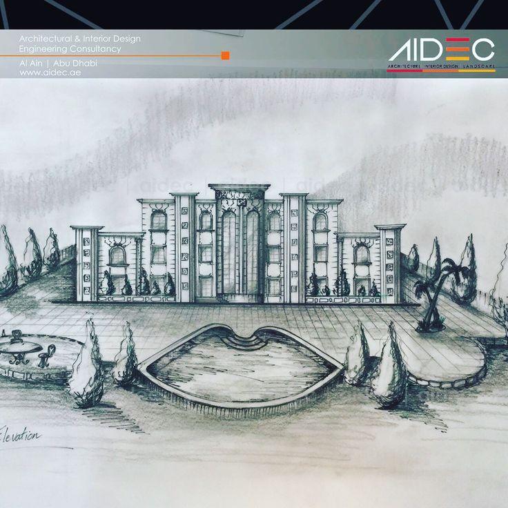 Hand Sketch  Project: Proposed Private Villa . . . . . . . . . . . . . . #aidec #architecture #architect #design #archporn #uae #abudhabi #alain #building #landscape #sketch #villa #house #white #classic #model #arab