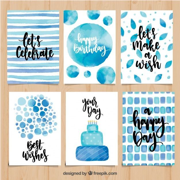 Ensemble de cartes d'anniversaire aquarelle en ton…