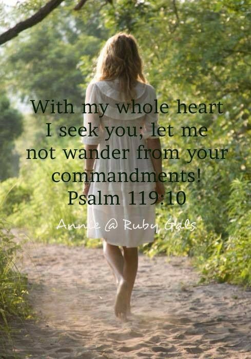 With my whole heart I seek You; let me not wander from Your commandments. Psalm 119:10