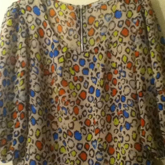 Multi colored leopard Top This top looks perfect with a pencil skirt or jeans! Definitely for the classy sheek woman!!! Papaya Tops