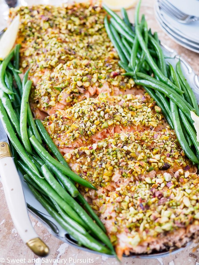 Ready in 30 minutes, this healthy Pistachio Crusted Salmon is an easy and quick option for a weeknight dinner and can be an elegant main for a dinner party.