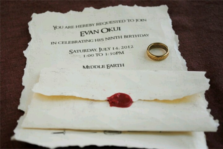 LOTR invitation - I'd write: You are invited to a long expected birthday party of special magnificence! address, Middle Earth. Time