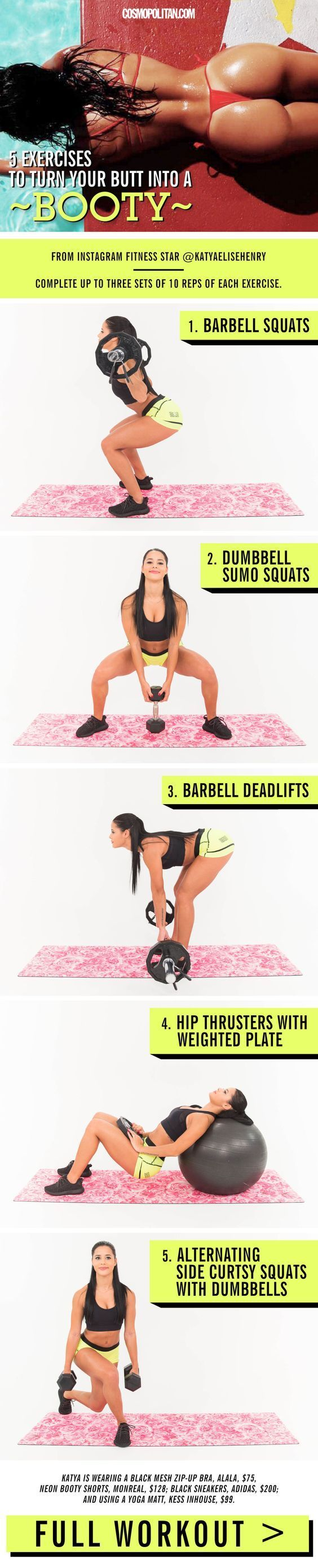 BUTT WORKOUT FROM INSTAGRAM FITNESS STAR KATYA HENRY. Here, she shares her #1 secret to building a round, tight tush, plus the best butt workout moves to make your booty Instagram-worthy asap! Complete three sets of these moves, doing 10 reps of exercise. Find the full workout and more easy butt workout tips here!: