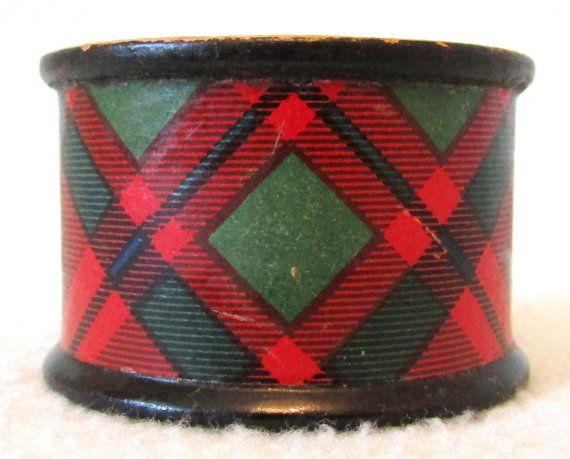 KOSTENLOSE POST - antike Gedenken Ware Serviette Ring, Tartan Ware, schottischen Clans, Treen Serviette Ring, Tisch Dekor, Edwardian Curio, Macintosh-Clan