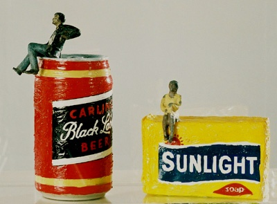 """Black Label Sunlight"" by Wayne Barker, a classically-trained artist who takes joy in toyi-toyiing with the icons of South African life."