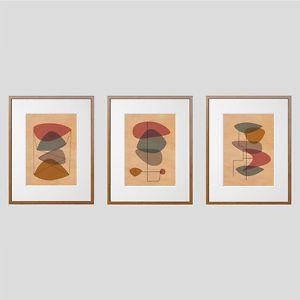 Set-Of-Three-Mahogany-Mid-Century-Modern-Eames-Style-Prints-Wood-Wall-Art