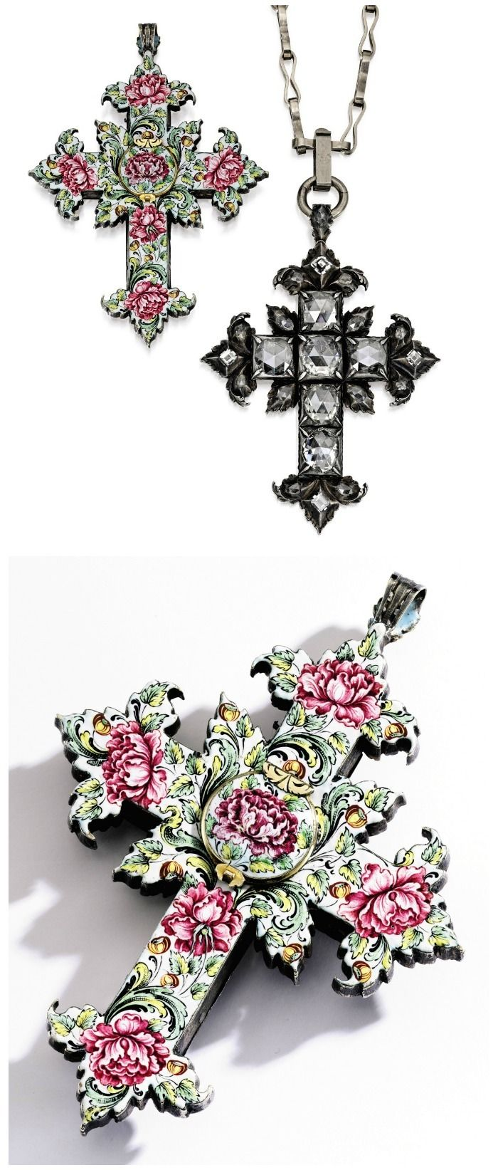 A silver, gold, diamond and enamel reliquary pendnt, Circa 1660. Centered by six Dutch rose-cut diamonds, accented by smaller rose and table-cut diamonds, the reverse in enamel with a concealed compartment.