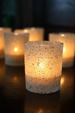 Sand Votives.....Super Pretty! this could be a DIY project eventually....when I get near some sand