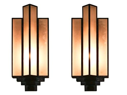 Art Deco Foyer Lighting : Pair of large art deco sconces um i love these