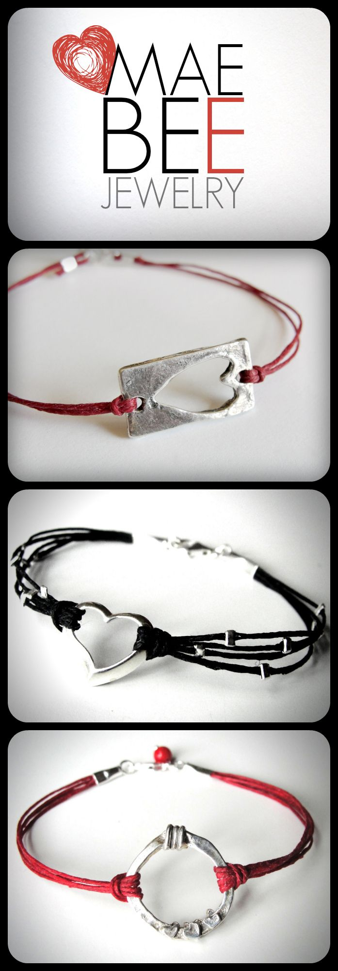 Sterling #heart & red linen #bracelets for your #Valentine! ...from JewelryByMaeBee on #Etsy. www.jewelrybymaebee.etsy.com