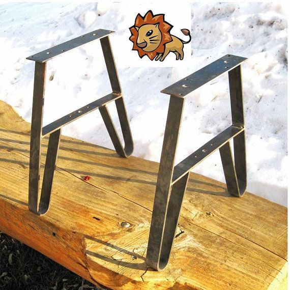 Metal Table Leg Set, Use as Bench Legs or CoffeeTable Legs USA Made, Unfinished 14.75 High 10 in. long Top Plate 48.00 pair, from wisconsin